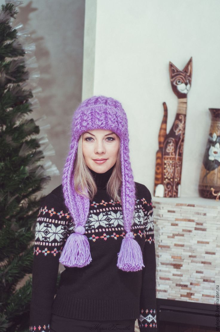 Купить Сиреневая Зима- вязаная шапка с ушками на подкладе - сиреневый, шапка вязаная, шапка женская