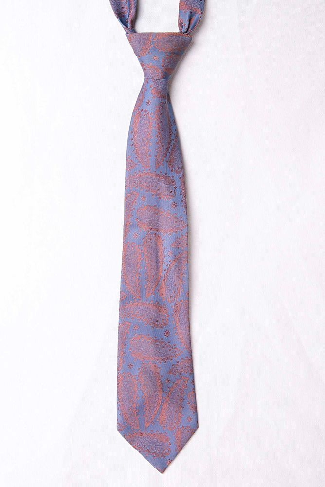 Vintage Patterson of London Blue + Pink Paisley Mens Tie - Made in UK