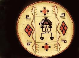 Ornamental stoneware plate, hand painted. Mapuche designs. By Maggie Sierralta