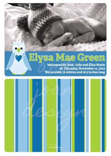 From the Gerald & Joan blog: Eliza birth announcement in green and blue color scheme with owl motif and beachy stripes. #designforbaby