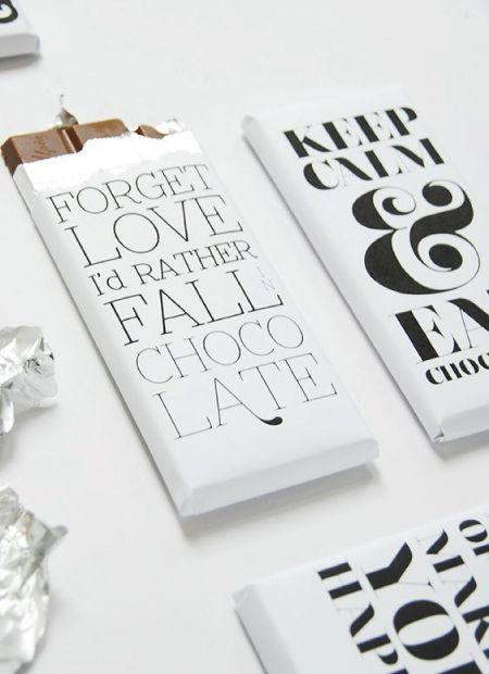 Diseño de packaging y envoltorio para tableta de cholocale usando tipografías. http://www.silocreativo.com/2016/05/packaging-tipograficos-creativo-originales/