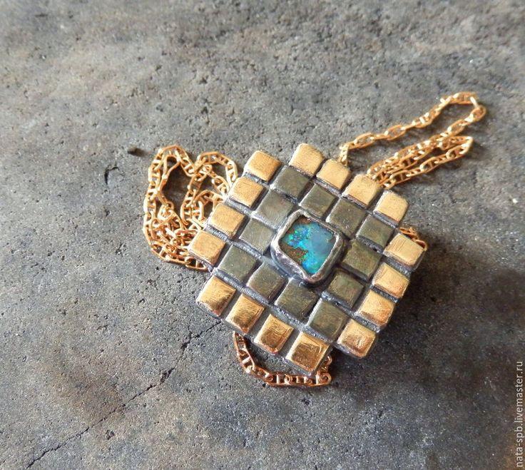 Купить SMALTO кулон (опал, серебро, латунь) - кулон татоша, яркий кулон, миниатюрный кулон