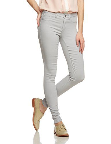 PIECES Damen Skinny Hose Pcjust Wear R.m.w. Legging/hris, Gr. 40 (Herstellergröße: L/XL), Grau (High-Rise)