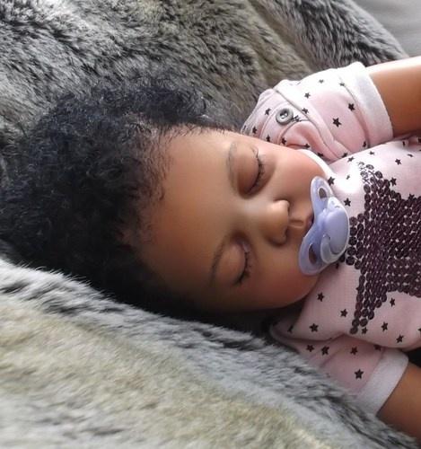 Big Baby Toddler Reborn Girl Ethnic African Black AA Doll Chloe by Ann Timmerman