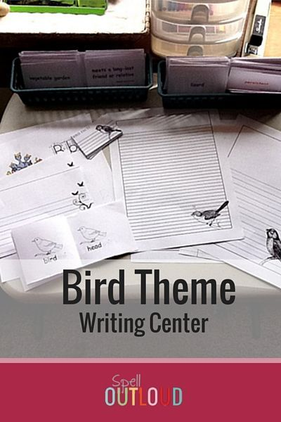 Bird writing center with free printable notebooking papers.