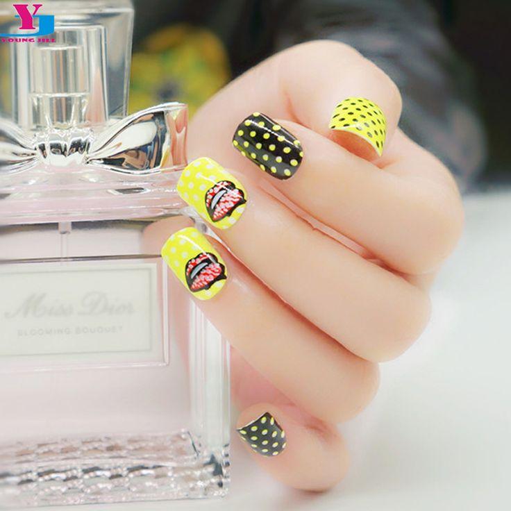 Fashion Neon Fake Nails Artificial Pre Designed Short Unhas Postizas Color Pop Faux Ongles Avec Colle Nail Art Tips Decorations