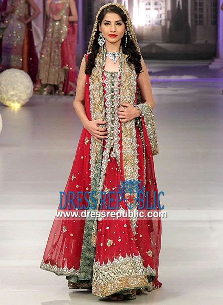 Royal Red Manama - DR11142, Asian Bridal Dress in Red By Designer Tabassum Mughal 2013 at Pantene Bridal Couture Week by www.dressrepublic.com
