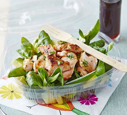 Flaked salmon salad with honey dressing. A simple salad of lean, omega-rich fish with sugar snap peas, avocado and a sweet soy vinaigrette