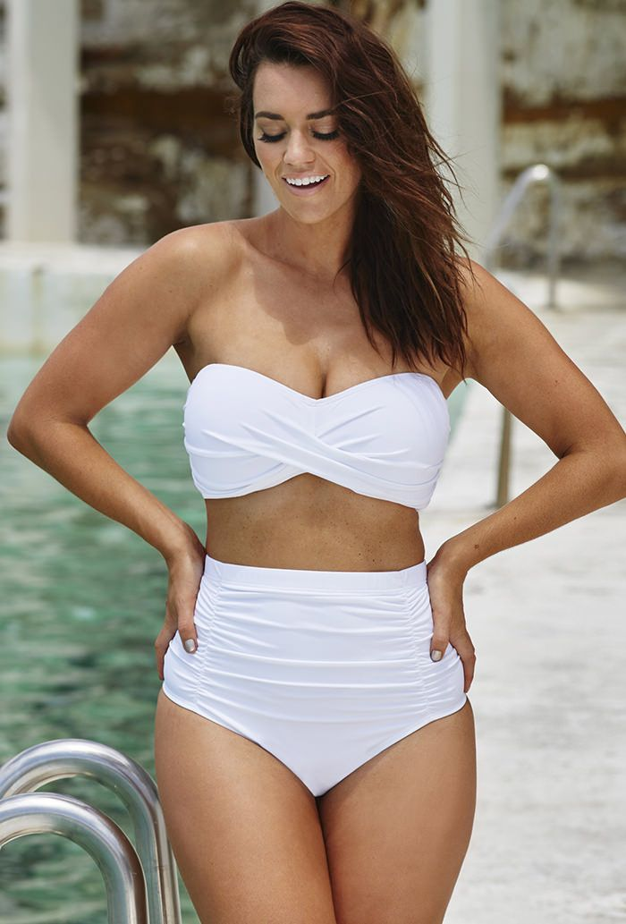 Swim Sexy White Sand Shirred Visoka Waist Twist Bikini-2635