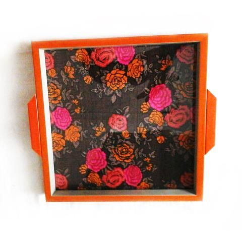 Orange Wooden Rose Print Tray - FOLKBRIDGE.COM | Buy Gifts. Indian Handicrafts. Home Decorations.