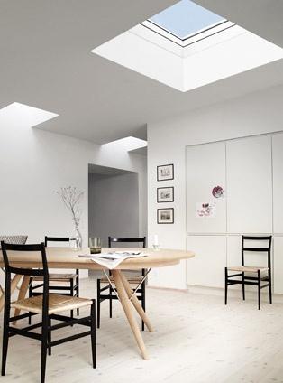 Küche mit Flachdach-Fenstern