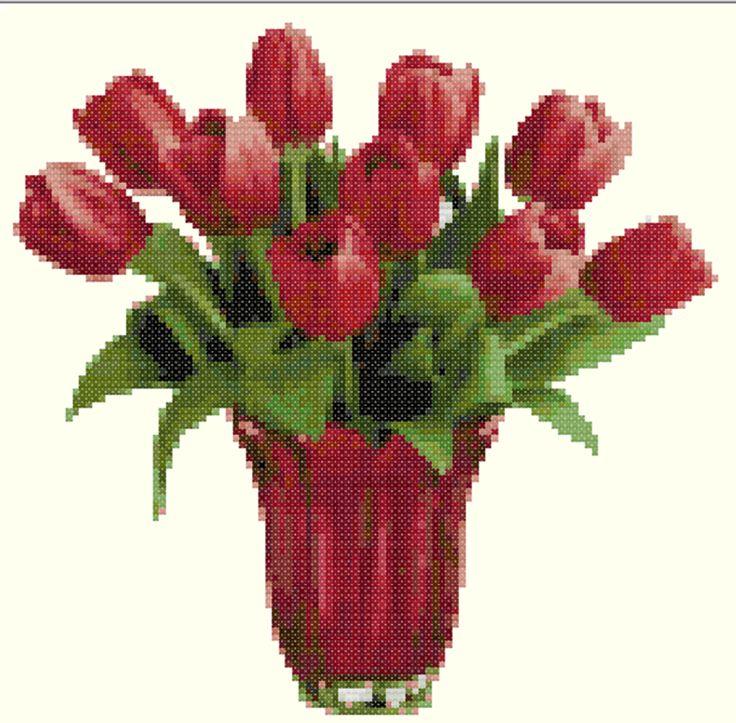 FREE CROSS STITCH PATTERN : Tulip Bouquet #02