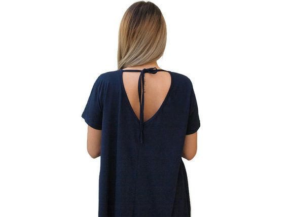 Dark blue loose open back top / Organic Cotton by PepperFashion