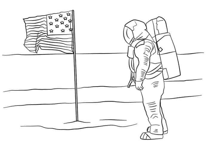 Astronaut In 2020 Moon Coloring Pages