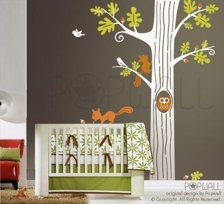 Woodland Animals 01 Wall Decal - Mural, Owl Wall Decal, Squirrel Wall Decal