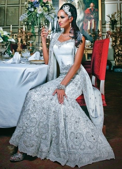 White Bridal Lengha
