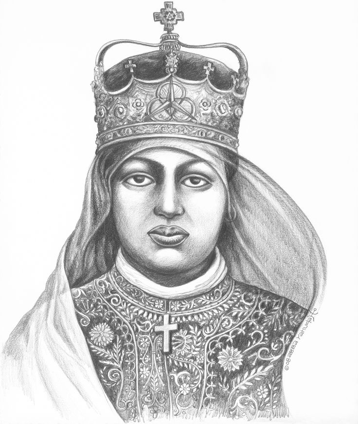 EMPRESS MENEN - FACES FROM THE JOURNEY. Graphite on paper by Abba Yahudah copyright 2008
