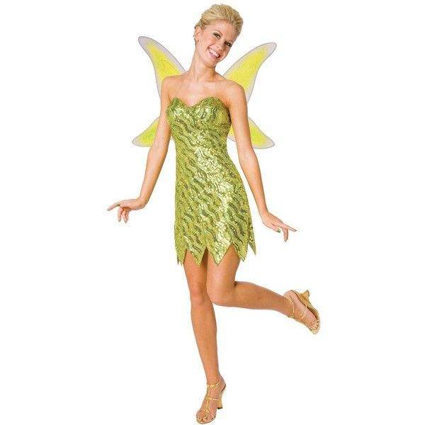 Sequin Deluxe Tinker Bell Adult Costume ($35) ❤ liked on Polyvore featuring costumes, halloween costumes, adult tinkerbell halloween costume, fairy costume, peter pan costume, adult fairy costume and adult tinkerbell costume