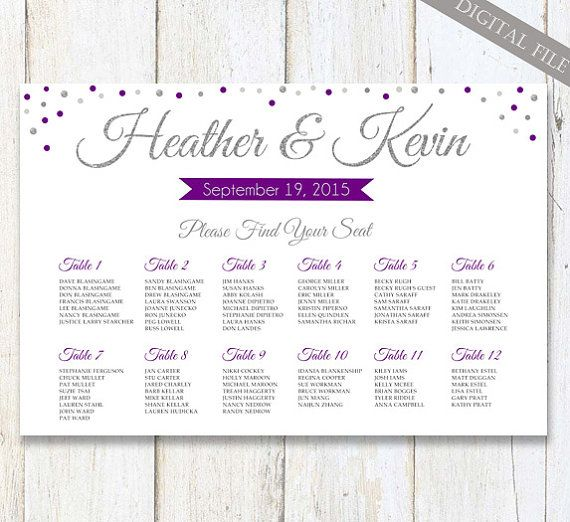 Purple Silver Chalkboard Wedding Seating Chart - Custom silver sparkle purple plum wedding seating board plan - DIGITAL file!  - THIS LISTING IS FOR A DIGITAL COPY ONLY - NO PHYSICAL PRODUCT WILL BE SHIPPED TO YOU! You will receive high quality jpg file on your email in time you choose from dropdown menu Turnaround time. Then you should download the file and upload to any print lab store such as Walgreen, Staples or Kinkos, or you can save the file to your flash drive and print it out in any…