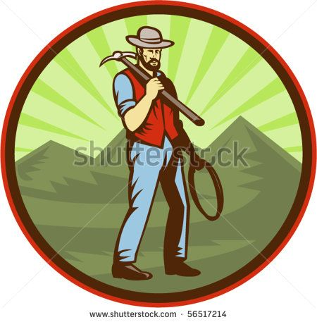 vector illustration of a Miner carrying pick axe with mountains set inside an oval #golddigger #retro #illustration
