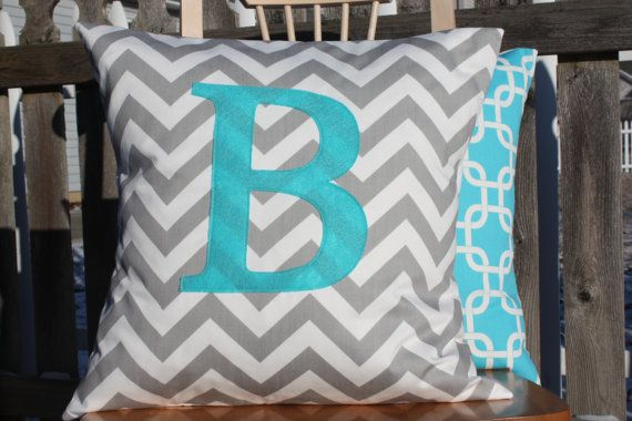Monogrammed Pillow Cover  Grey Chevron and Aqua by nest2impress,
