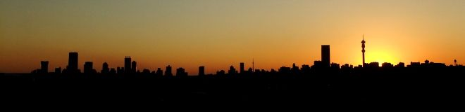 Johannesburg skyline at sunset