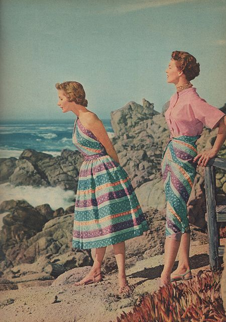 """""""Fashioned for the Sun"""" spread in Family Circle, May 1955. Beach separates by Saba."""