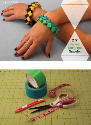 Zig Zag Duct Tape Bracelet This duct tape project brings me back to my childhood! Zig Zag bracelets can be made from just about any piece of sturdy paper but duct tape takes them to the next level! #ducttape #kidscraft #wearables #bracelet #diy