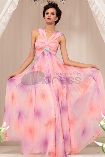 Abiti in Magazzino-Bra codice di fascia alta abito da sera Slim Pink Floral