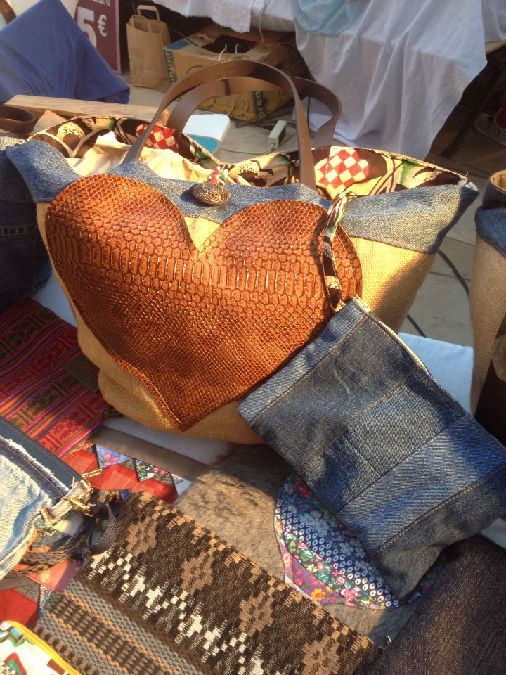 Ela&Eu Sac toile de jute cœur similicuir, patchwork de jeans