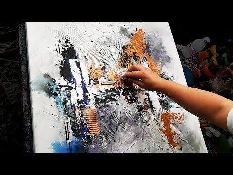 Demonstration Peinture Abstraite Pate De Texture Pinceaux Et