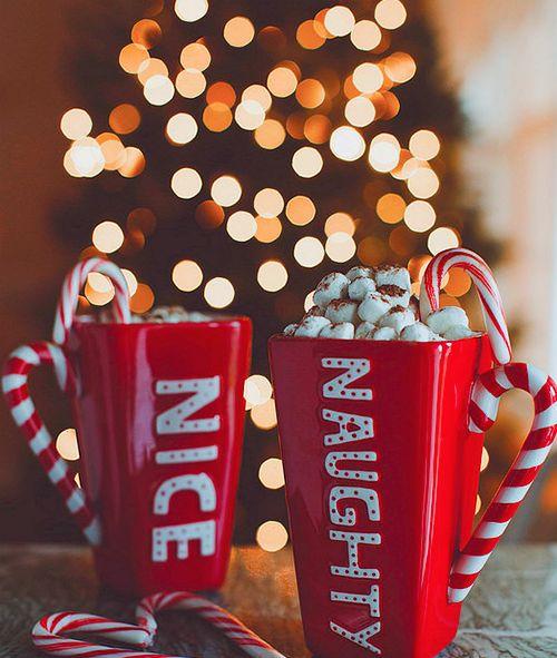 Naughty and nice Christmas hot chocolate cups