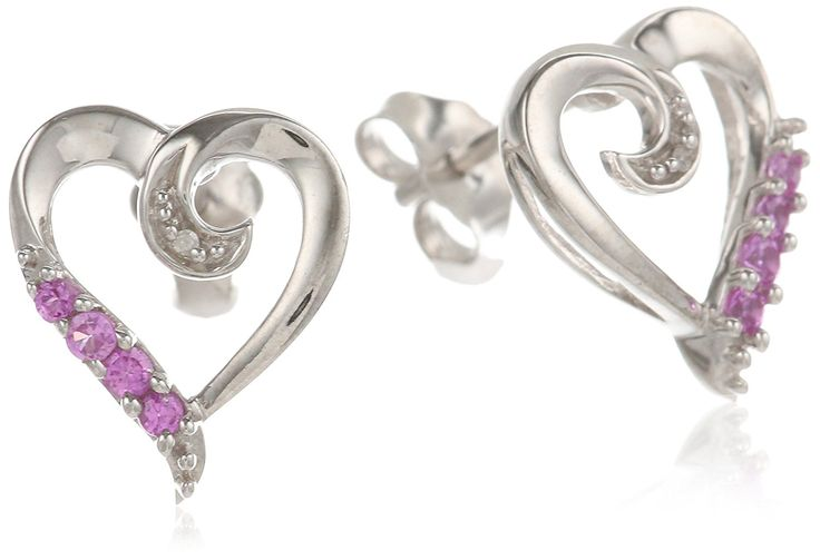 Sterling Silver Created Pink Sapphire with Diamond Heart Shape Earrings ** More info could be found at the image url.
