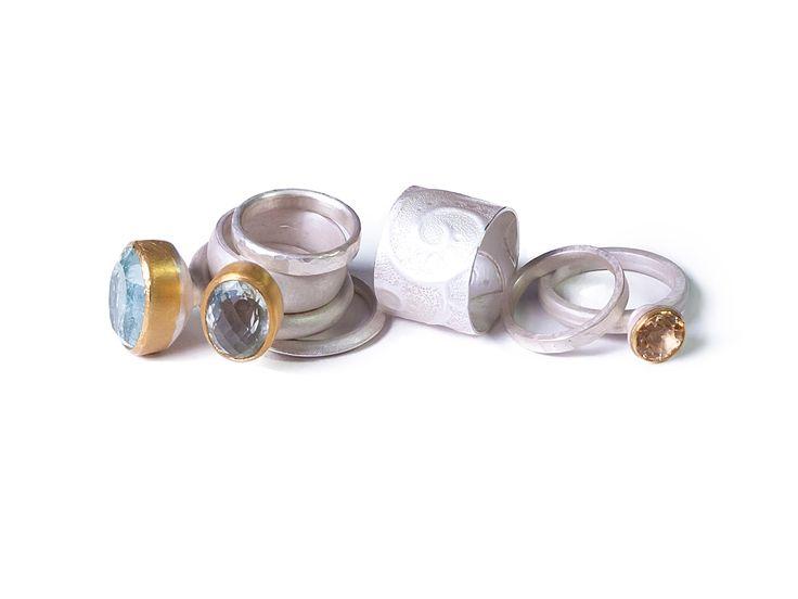 Kathrin Dunst- Ringe Silber 925/- mit Aquamarin, Prasiolith und Goldtopas © Kathrin Dunst