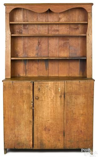 New England pine stepback open pewter cupboard - Price Estimate: $500 - $1000