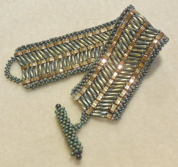 PATTERN Tila Half with bugle beads cuff style by BaublesbyBalonis