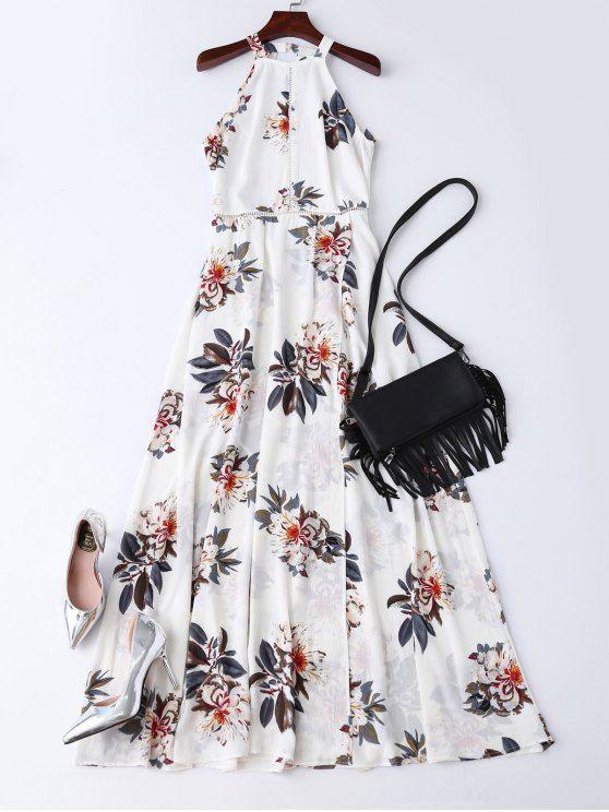$34.09 Boho Floral Open Back Maxi Dress - WHITE S