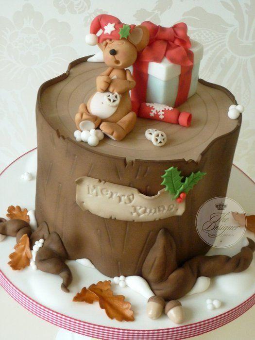 Sleeping Mouse Christmas Cake - by designercakecompany @ CakesDecor.com - cake decorating website