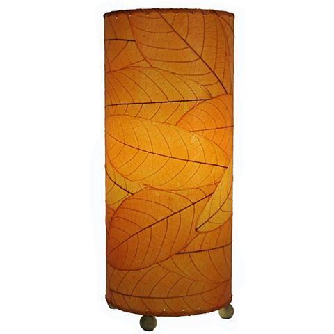Eangee Cylinder Orange Cocoa Leaves Uplight Table Lamp 8p188