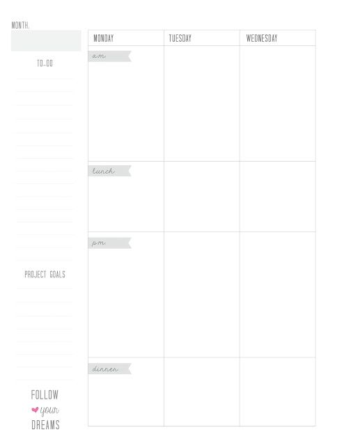 Free weekly printable planner pages