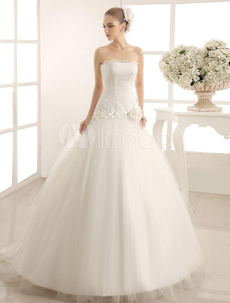 robe mariage avec fleur et dentelle bustier trane chapelle milanoocom - Milanoo Robe De Soiree Pour Mariage