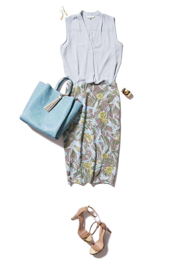 sleeveless. Louse and loose pencil skirt