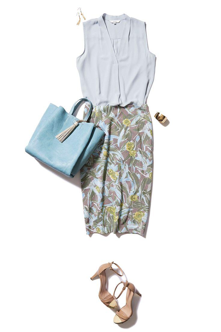 寒色カラーの柄スカートで好感度UPな涼やかコーデ ― B