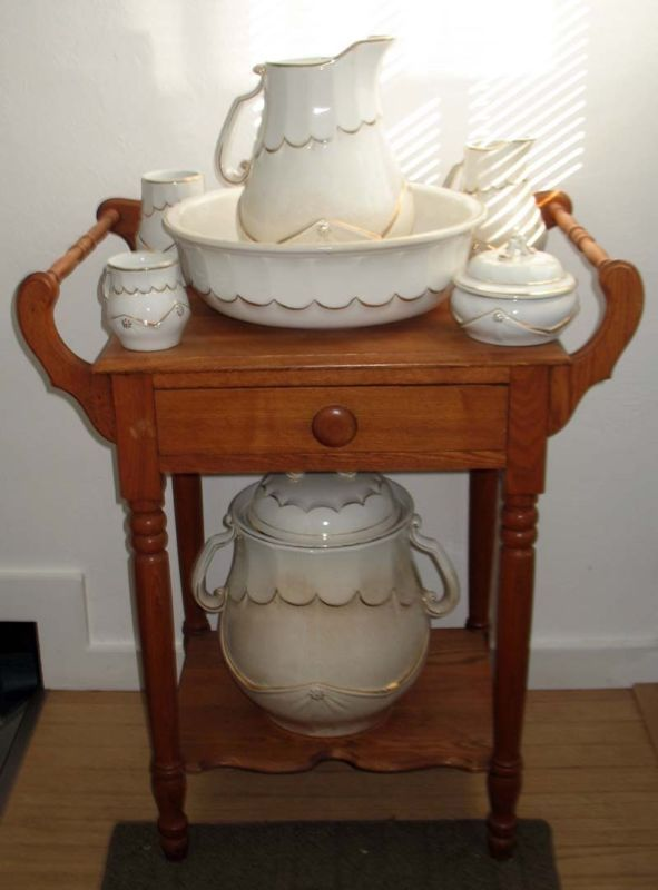 Antique Myer Stone Pitcher and Bowl Chamber Pot with Tumbler on Vintage Wash Stand