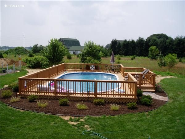 Semi inground pool with deckSwimming Pools, Semi Inground Pools Decks, Decks Ideas, Decks For Above Ground Pools, Decks Design, Decks Above Ground Pools, Backyards Above Ground Pools, Pools Ideas, Backyards Ideas Kids Pools