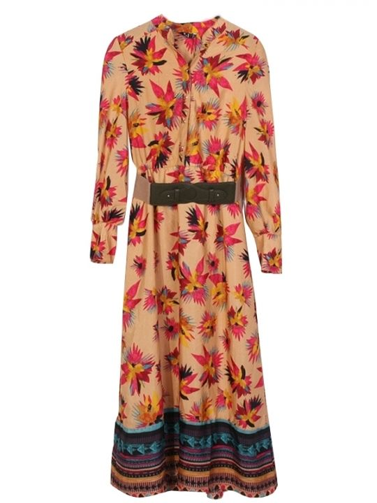 Long Sleeve Printed Buttons V-Neck Extra Long Maxi Dresses Khaki