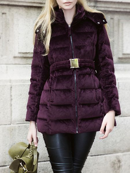 Wine Red Pleated Fashion Down Coats