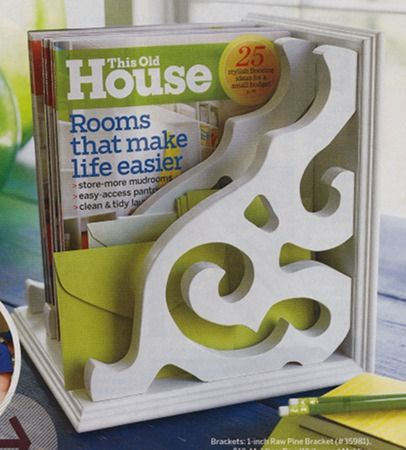 Cute diy magazine holder (file). Bit harder on the budget, though: update: GOOD NEWS! I found some forgotten white cottage shelf holders from IKEA that we had in the attic. Attached with Command strips to one cubbie in the IKEA expedit. Gorgeous!