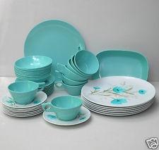 Vtg 40 Pc Set Park Avenue Aqua Floral Turquoise Melmac Melamine Dinnerware