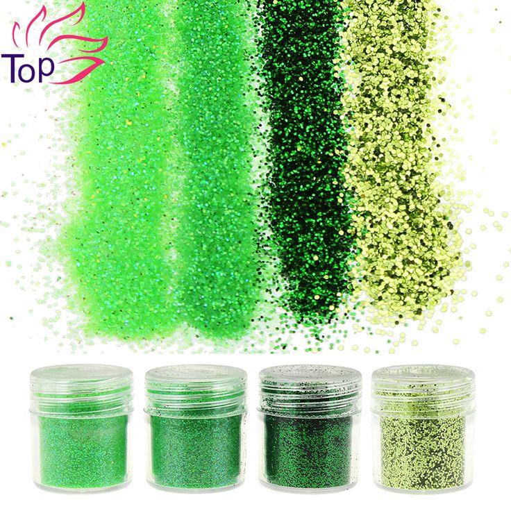 4 Flasche/Set 4 Designs Grün Shiny Staub Juwel Nagel Glitter Dekorationen Acryl UV Glitter Pulver 3D Nail art tipps BG045-048